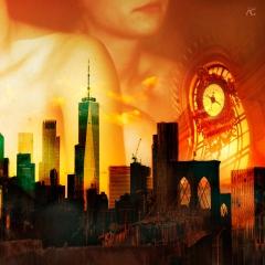 BrooklynBridgeAndWTCOnASunsetFromBrooklyn_MixedChannels_TimeofTheBridge