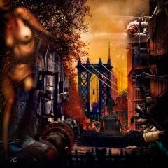 ManhattanBridgeAndEmpireStateWithStatueFromBoroughHall_cannelMixed_MecanicsOfTheDowntown