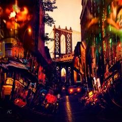 ManhattanBridgeInAGapOfAStreetEmpireStateBuildingInAManhattanBridge_schannelMixed_AnticipationOfManhattan