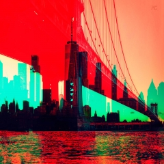 WTCbetweenManhattanBridgeColumnsOnASunset_ChannelsMixed_TheNewBeginnings