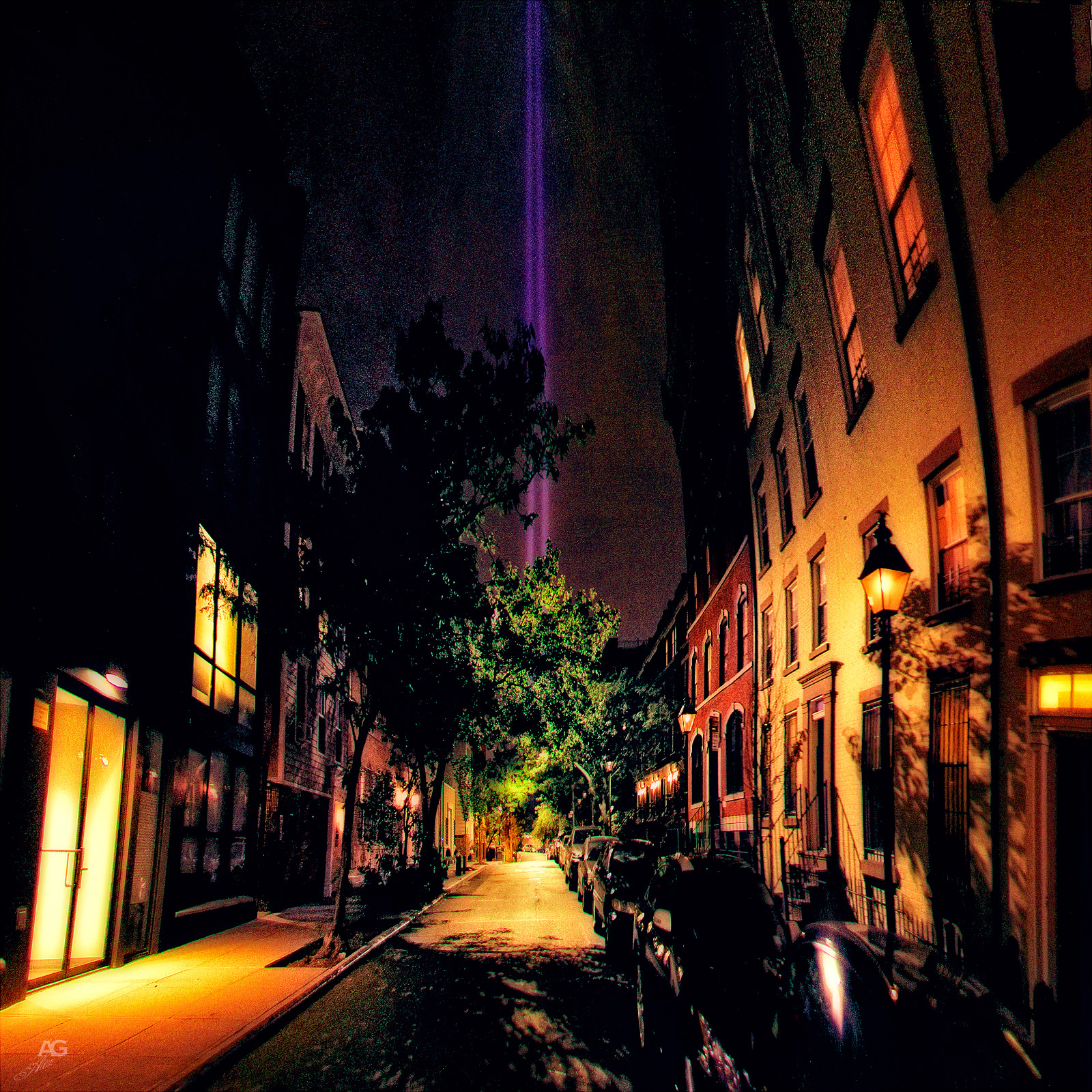 DarkStreetInDowntownBrooklynWith9-11Lights_warped_1600
