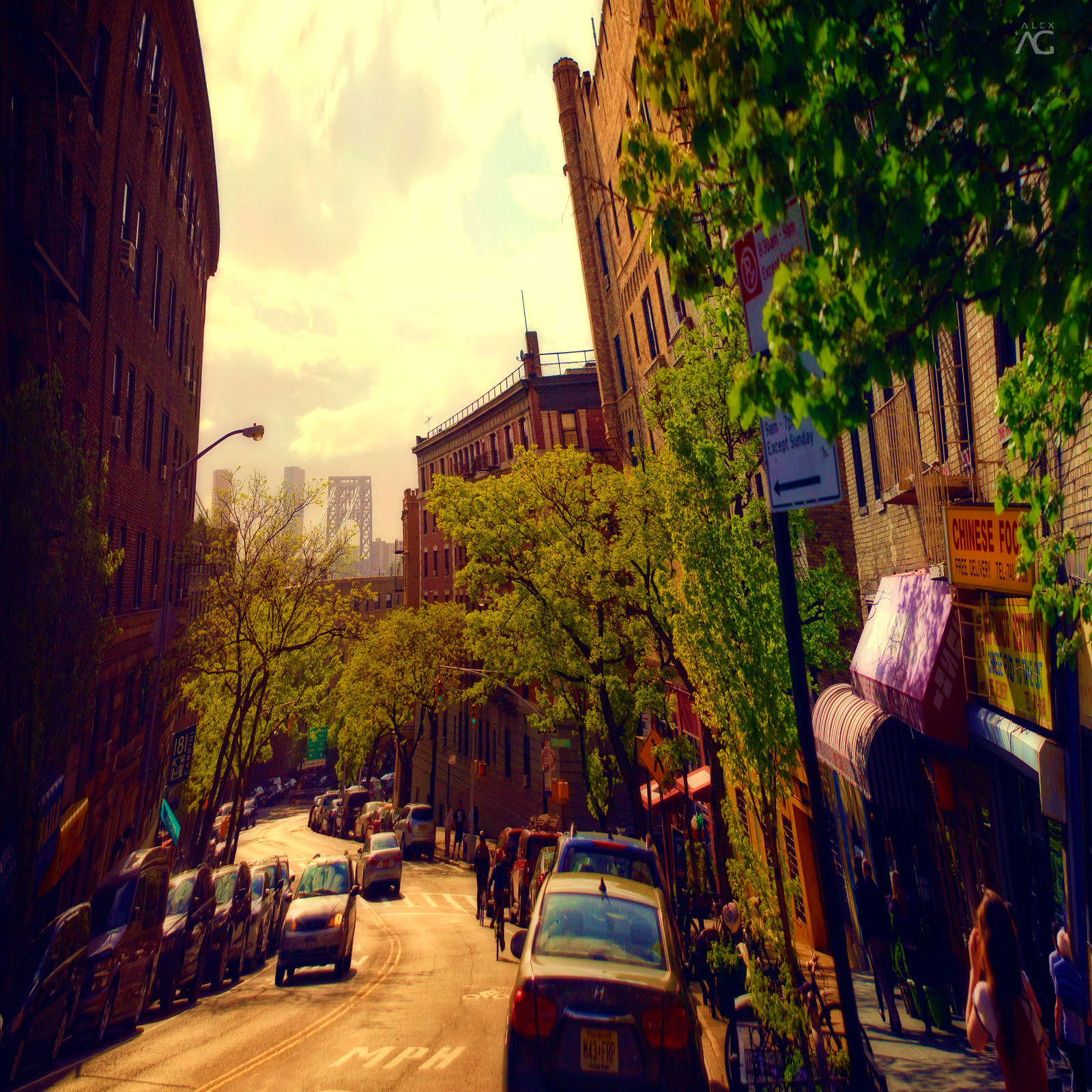 ManhattanStreetWithGeorgeWashingtonBridgeInTheEnd_warped_1600