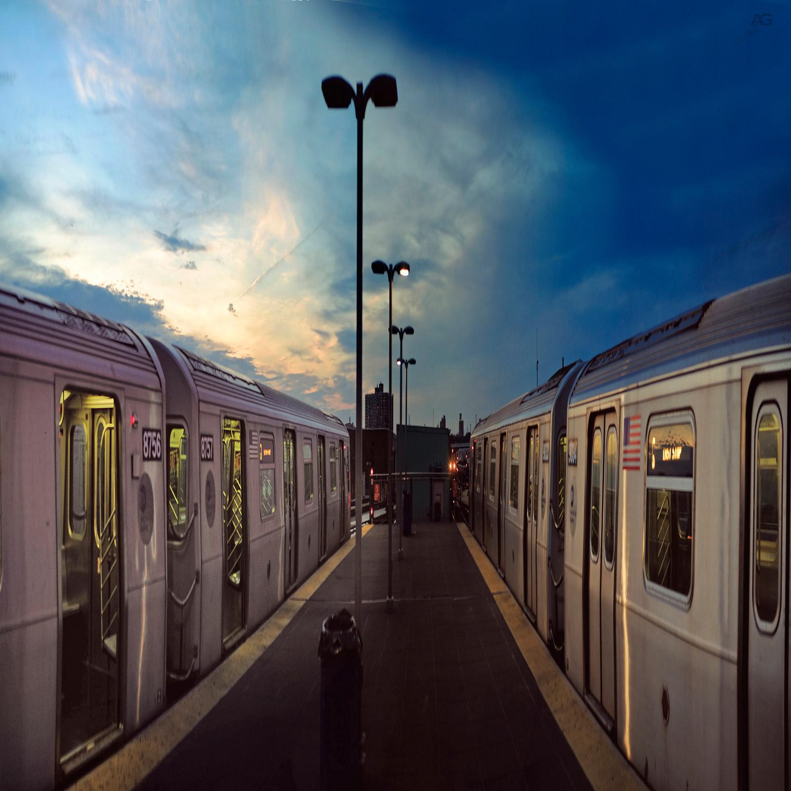 TrainOnSunsetConeyIslandSubwayStation_Squished_1600